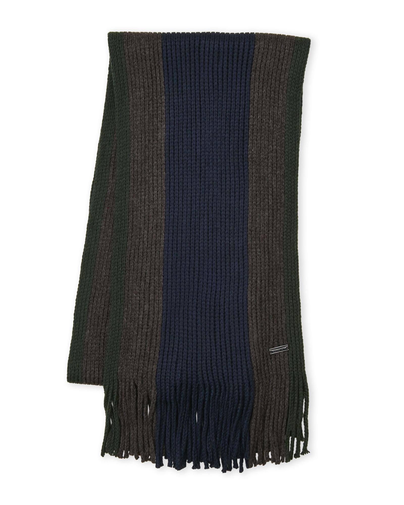 b4156c6069d9 Lyst - Michael Michael Kors Chunky Knit Stripe Scarf in Blue