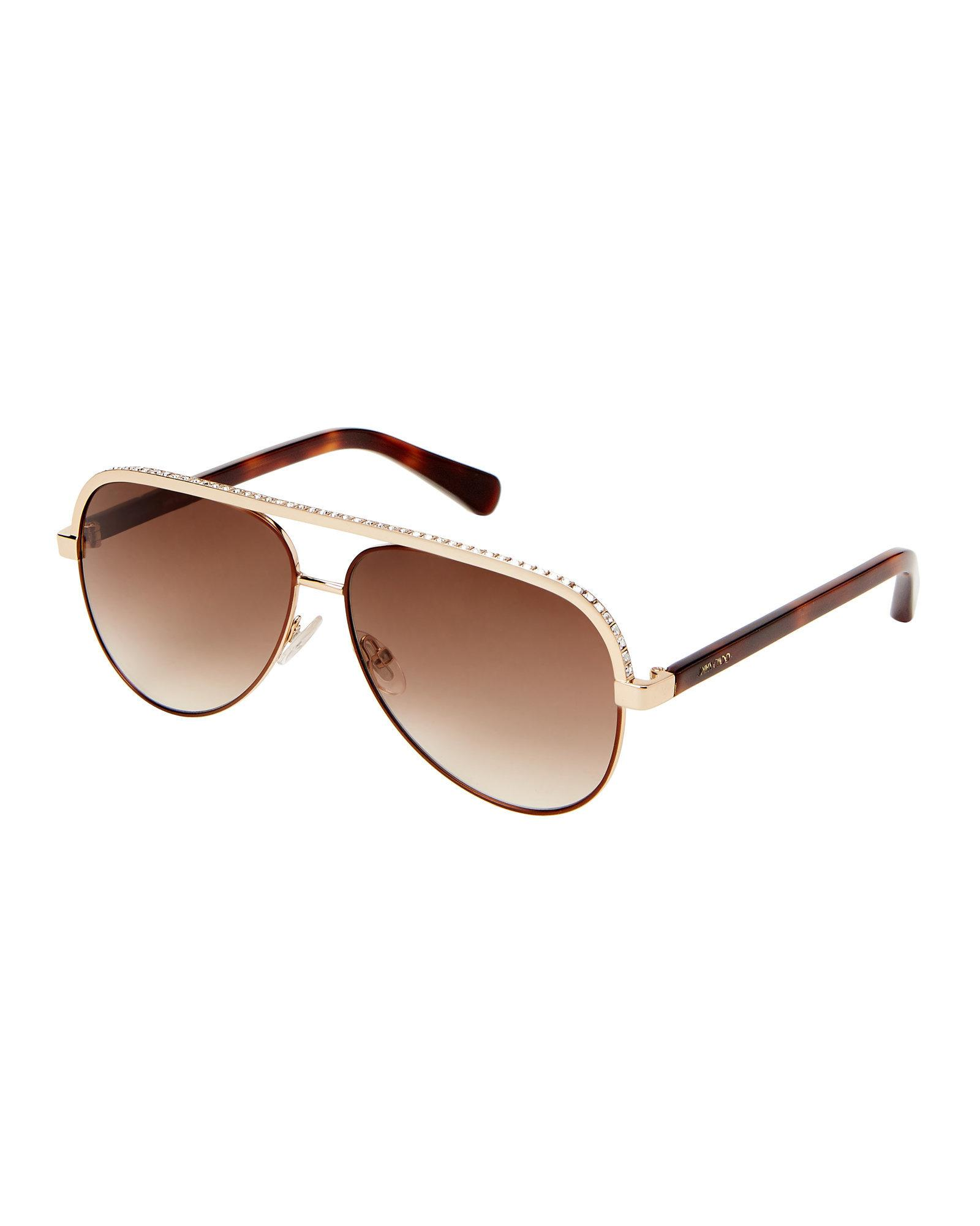0efae49cedcb Lyst - Jimmy Choo Lina s Rhinestone Brow Aviator Sunglasses in Brown