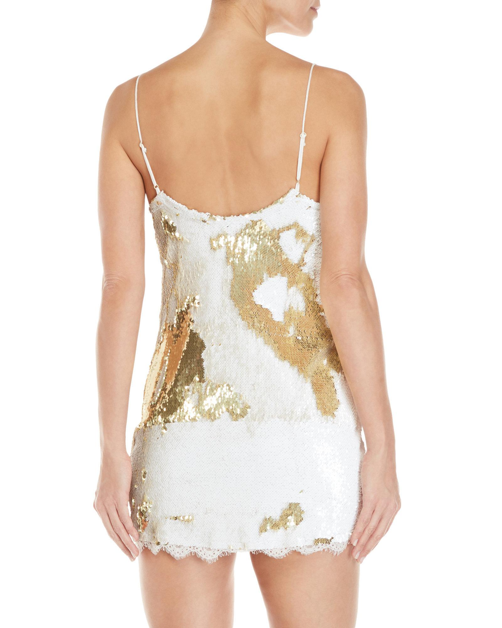 9c9ff1e7c7cee Free People Seeing Double Sequin Slip Dress in White - Lyst