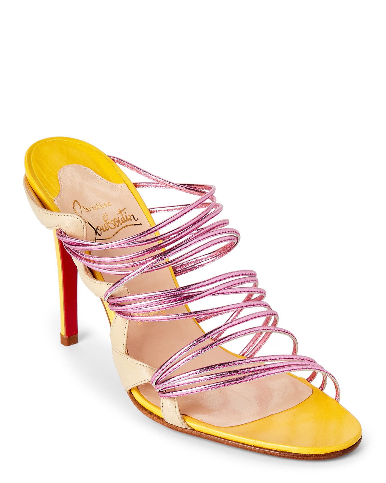 Lyst - Christian Louboutin Frescobaldi Strappy High Heel Sandals in Pink c2c419c2c