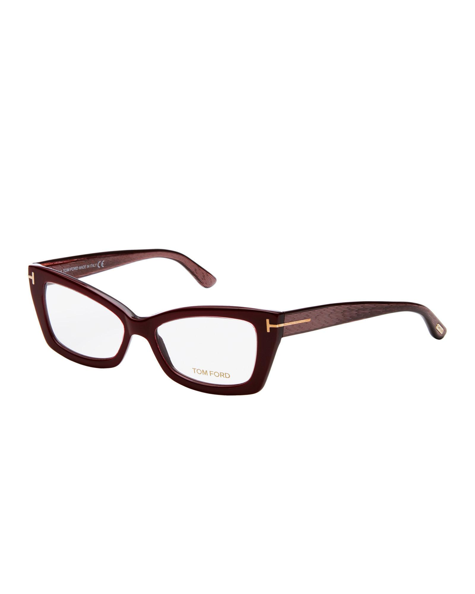 3a6d393c3f Lyst Tom Ford Tf5363 Burgundy Angular Cat Eye Optical Frames In Brown