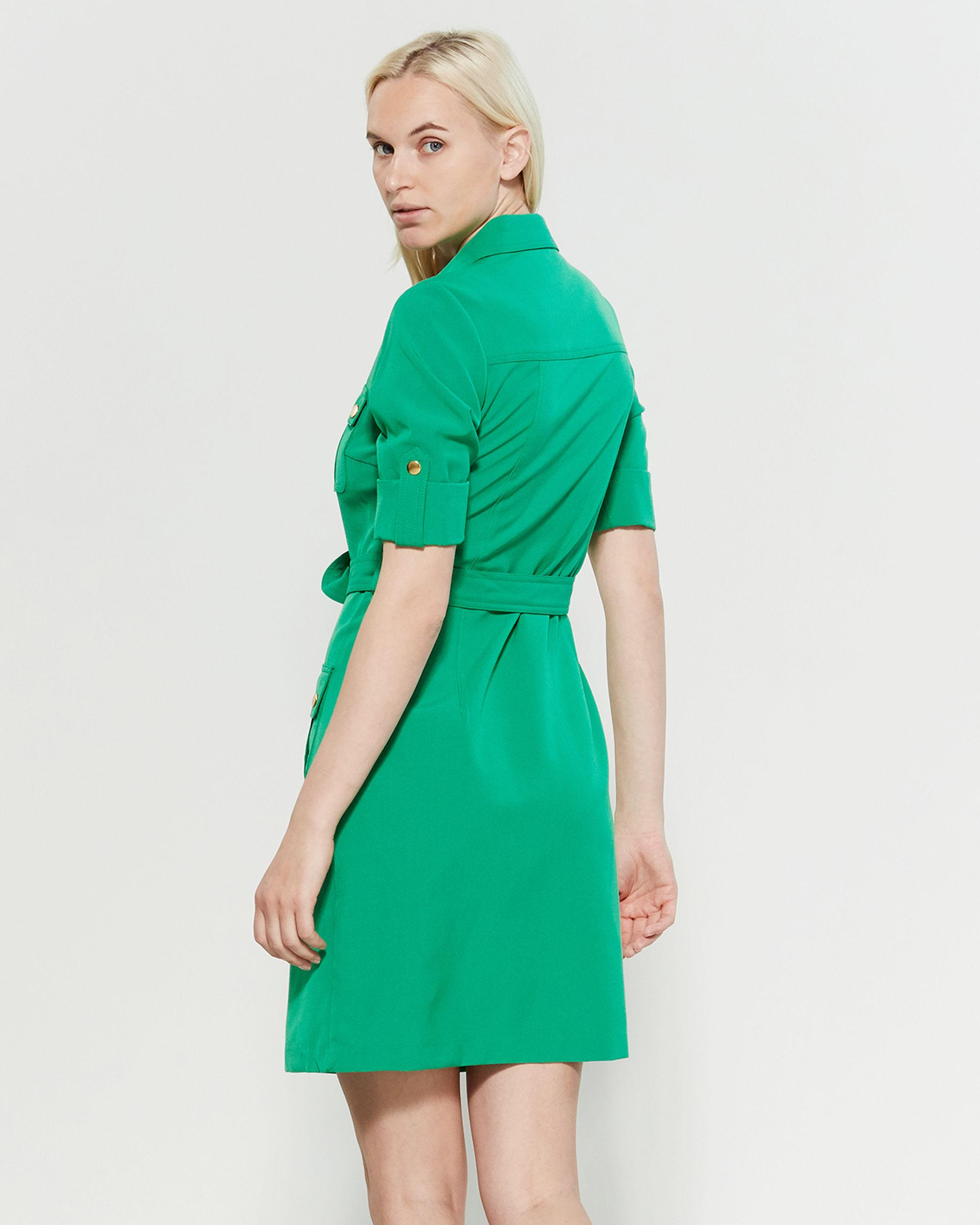 23e620a38d3 Lyst - Sharagano Belted Pocket Shirtdress in Green