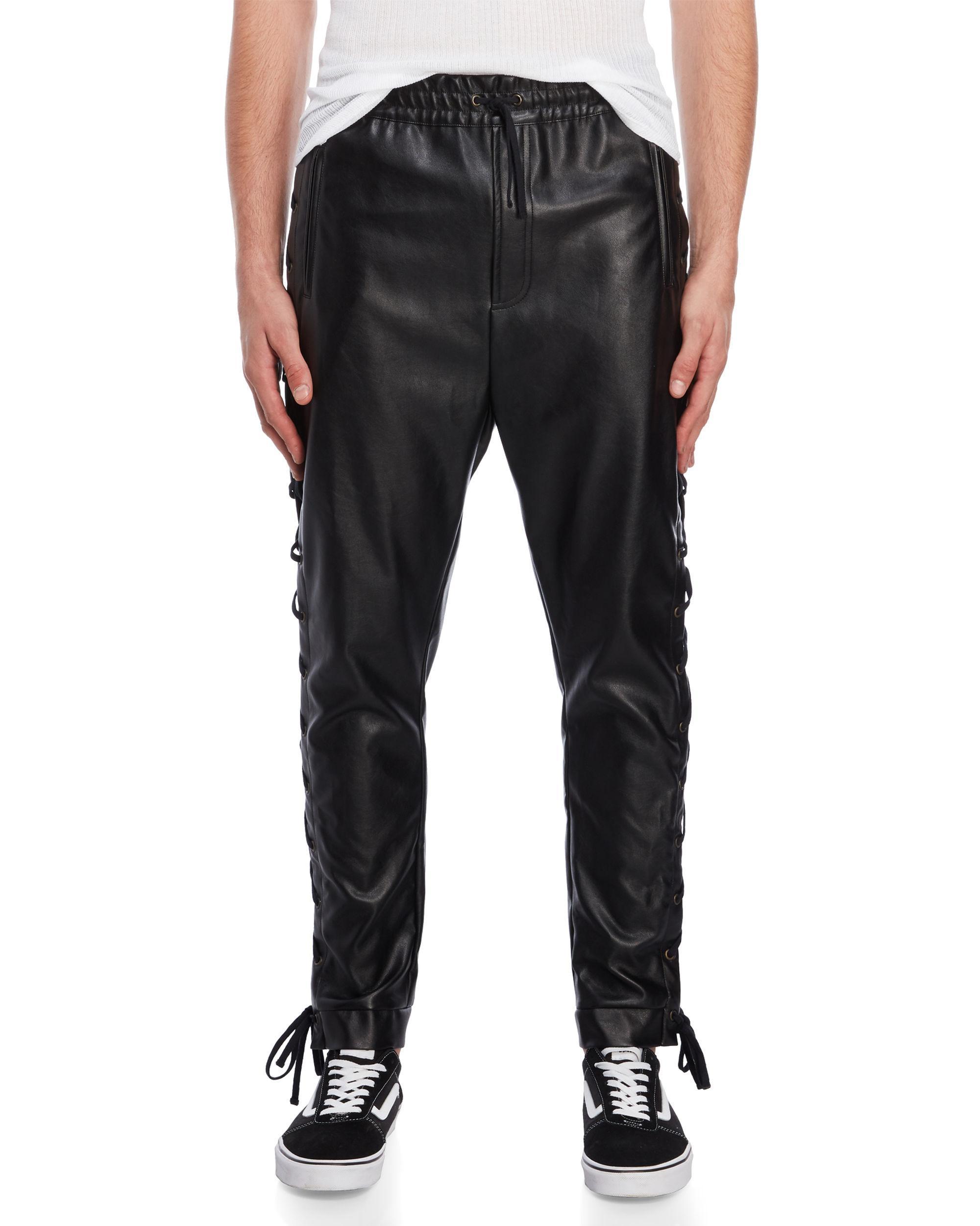 2490732b3c28 Lyst - Faith Connexion Black Lace-up Faux Leather Pants in Black for Men