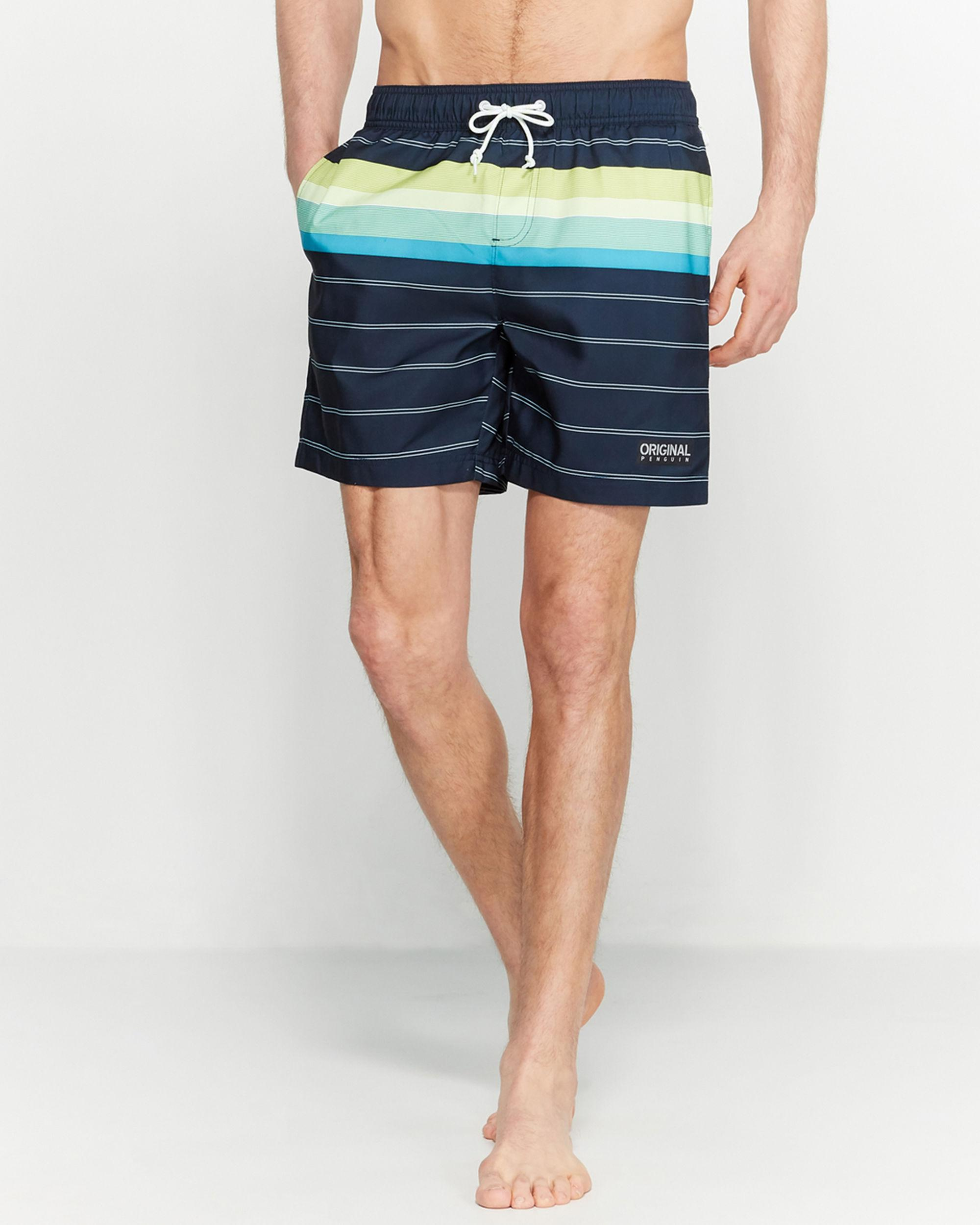 eb74656671 Original Penguin. Men's Blue Dark Sapphire Engineered Stripe Swim Trunks