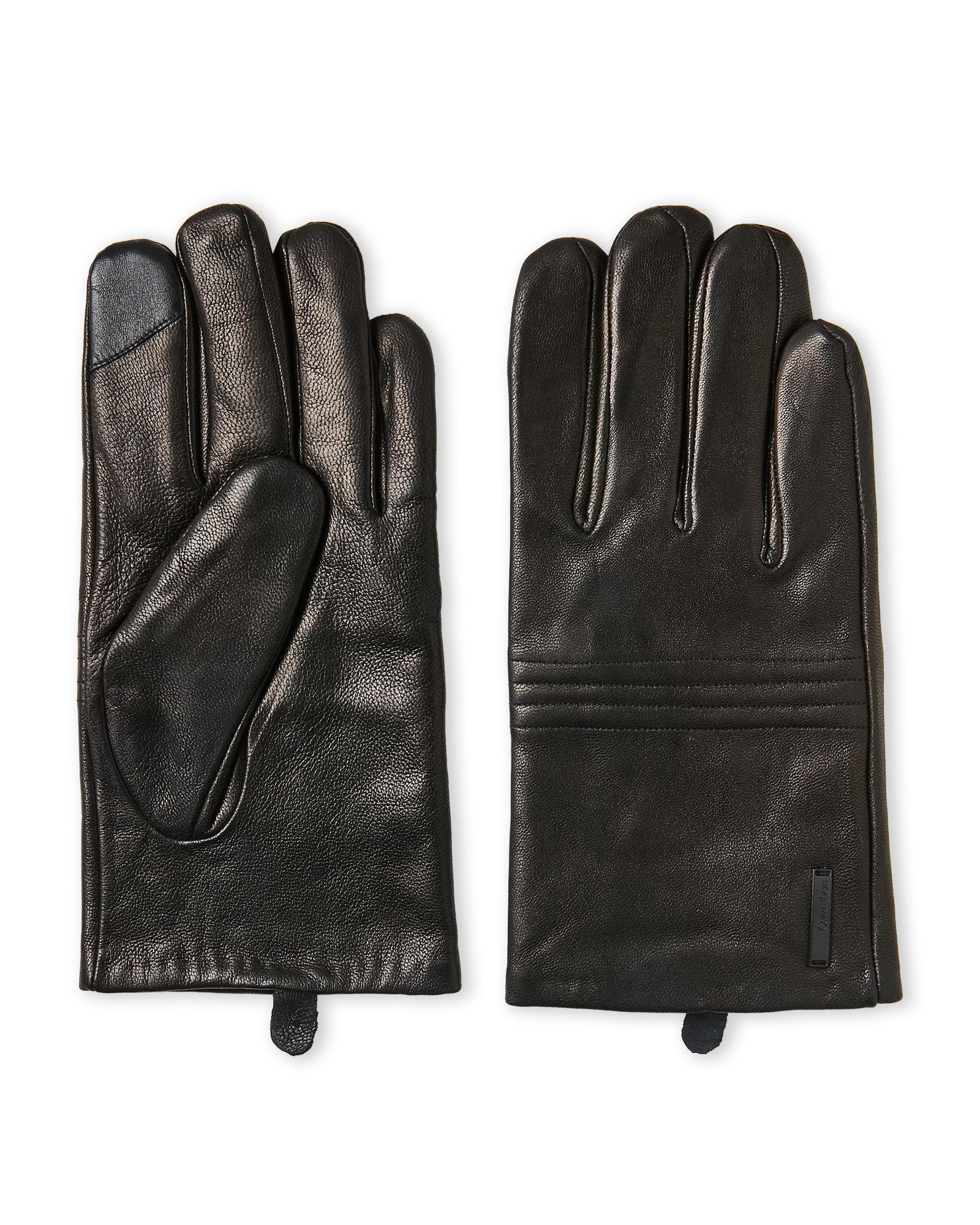 Lyst - Calvin klein Black Quilted Leather Tech Gloves in Black for Men : quilted leather gloves mens - Adamdwight.com