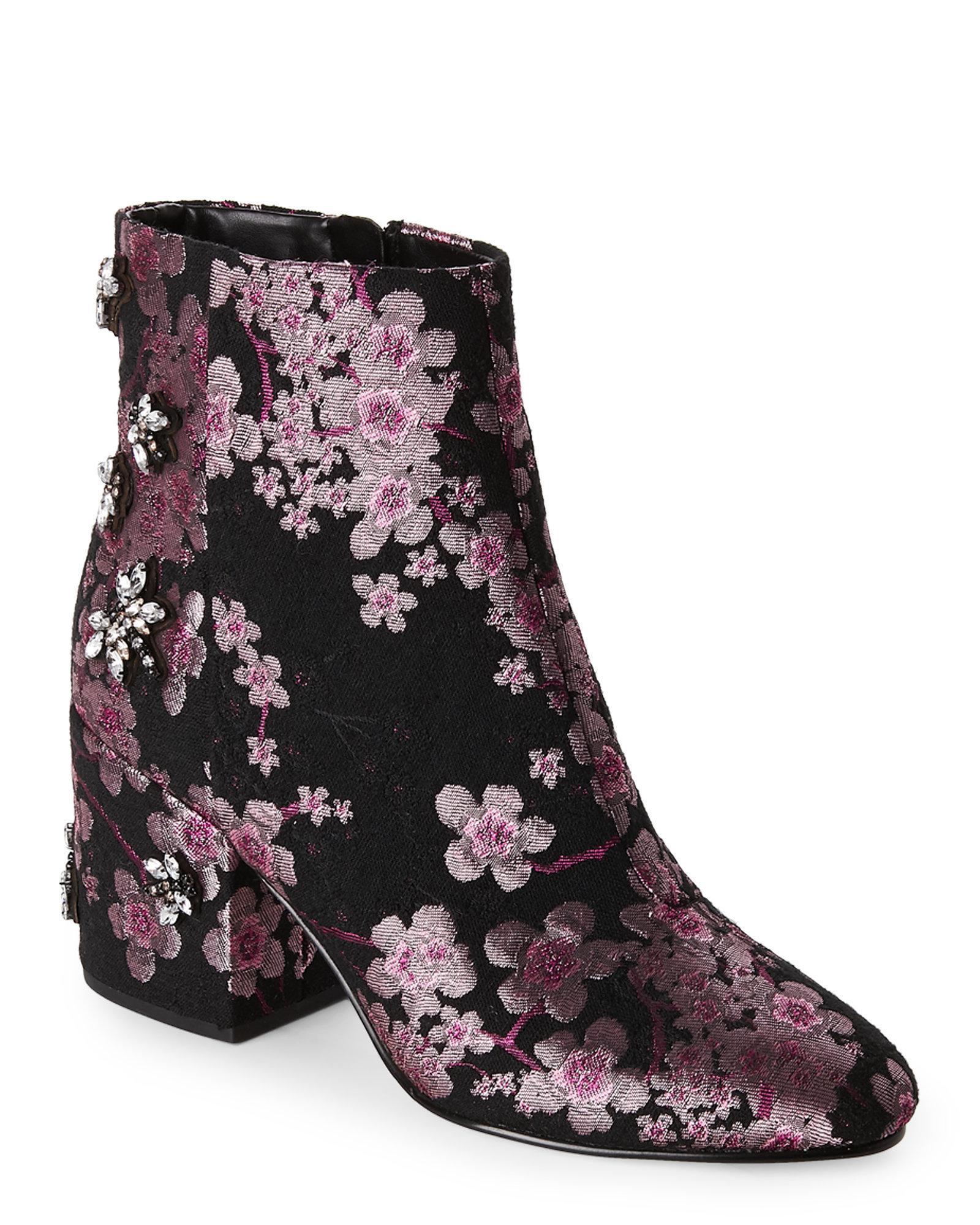 17cdd58f2 Lyst - Sam Edelman Taye Embellished Jacquard Block Heel Booties in Black