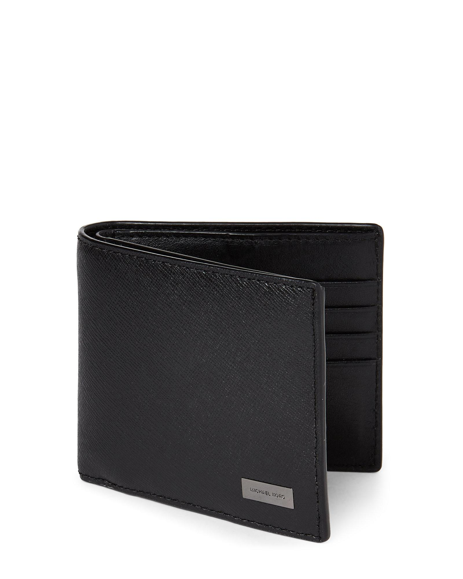 e3ba482ac2ad2 Lyst - Michael Kors Andy Saffiano Leather Bifold Id Wallet in Black ...
