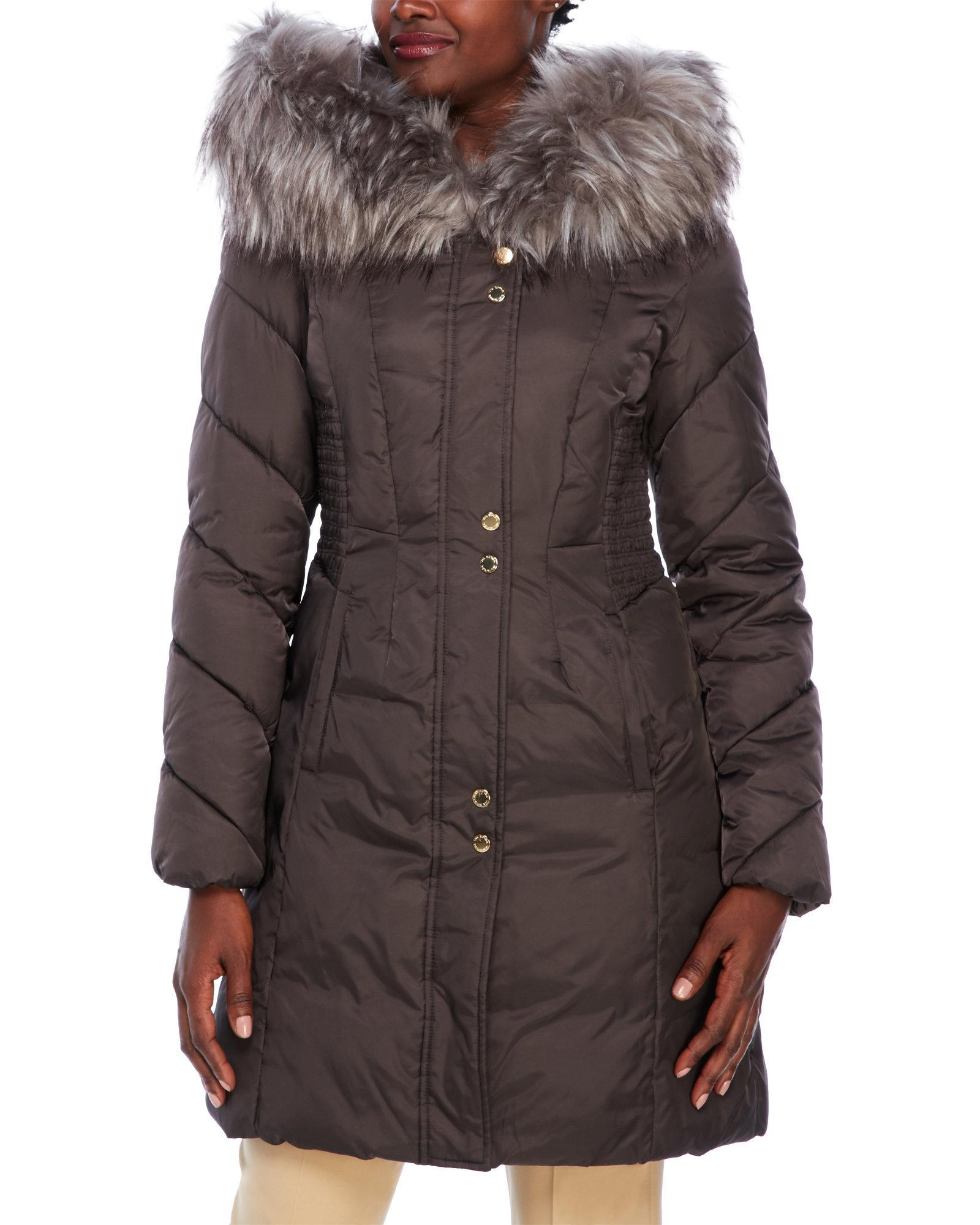 Via Spiga Hooded Faux Fur Trim Puffer Coat In Brown Lyst