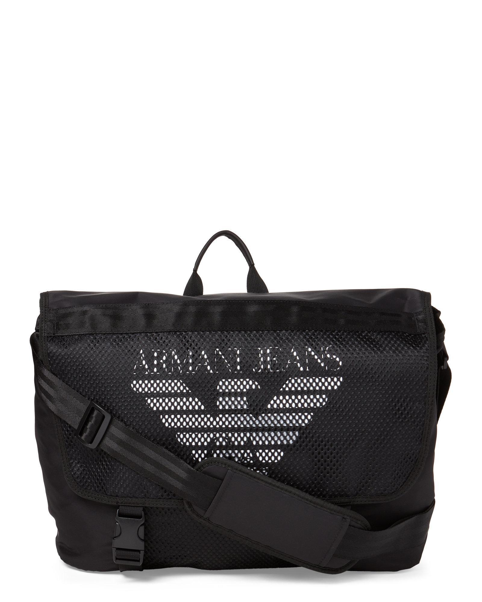 8a2f97fcda9 Armani Jeans - Black Logo Messenger Bag for Men - Lyst. View fullscreen