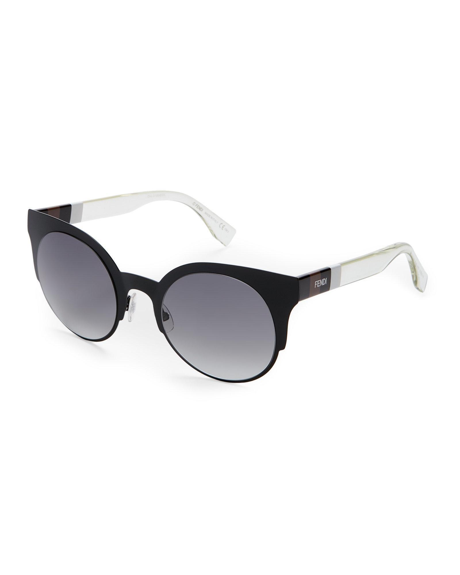 b12da3cf577 Lyst - Fendi Ff 0080 S Black Round Cat Eye Sunglasses in Black