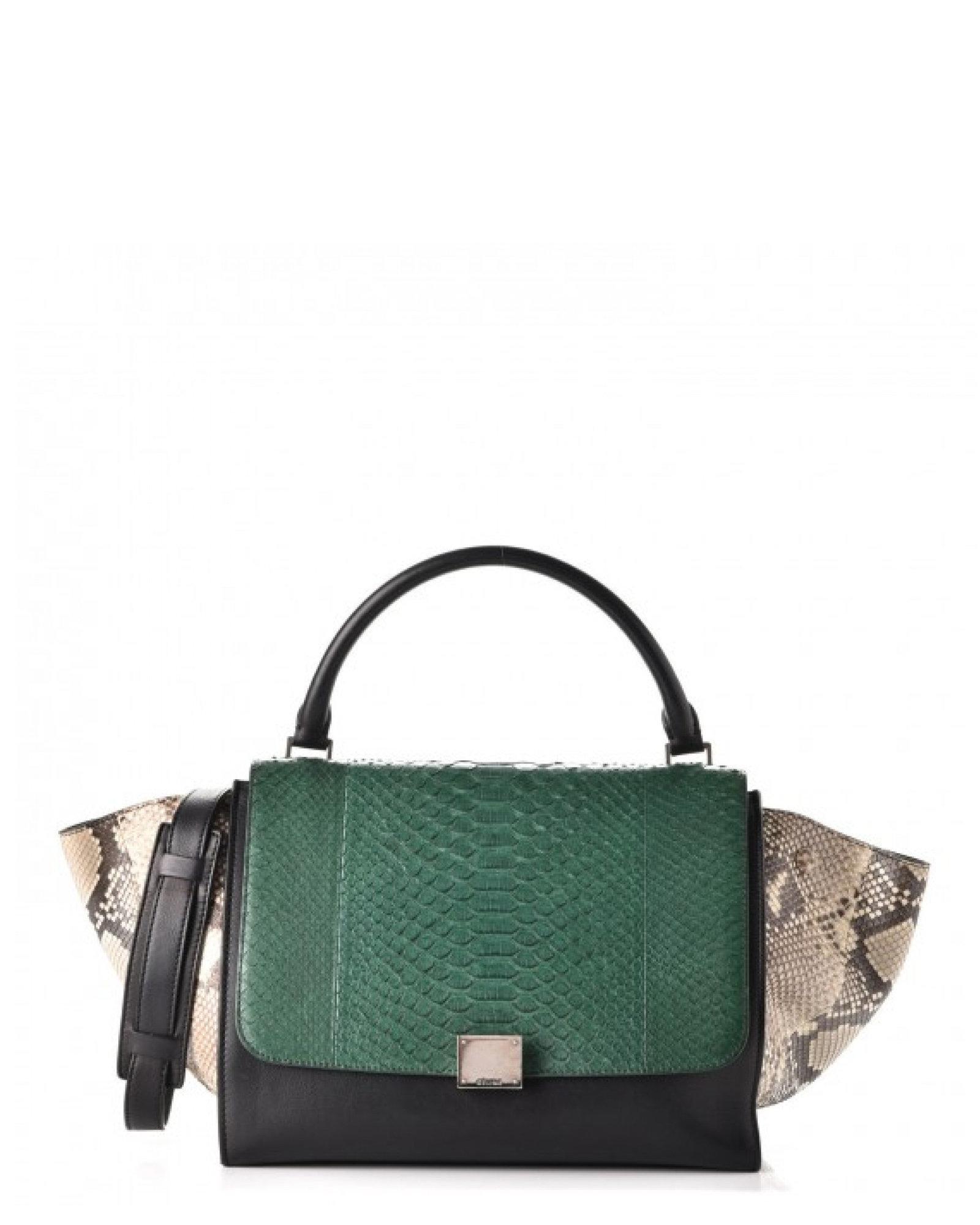 909b06cc57 Céline - Multicolor Python Calfskin Tricolor Medium Trapeze Handbag -  Vintage - Lyst