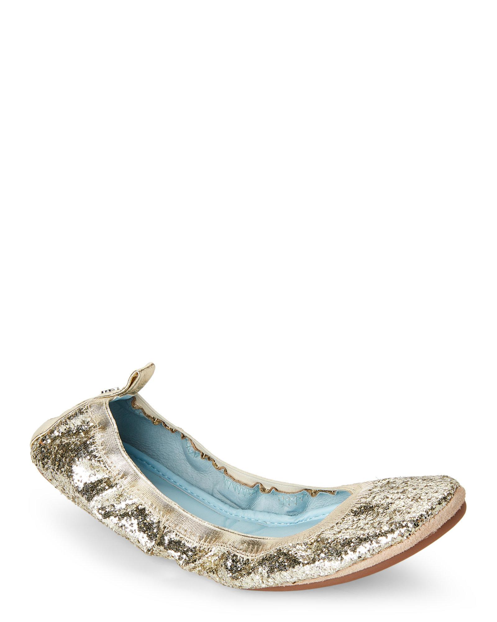 33db018696b4 Lyst - Yosi Samra Hitched Serena Glitter Foldable Ballet Flats