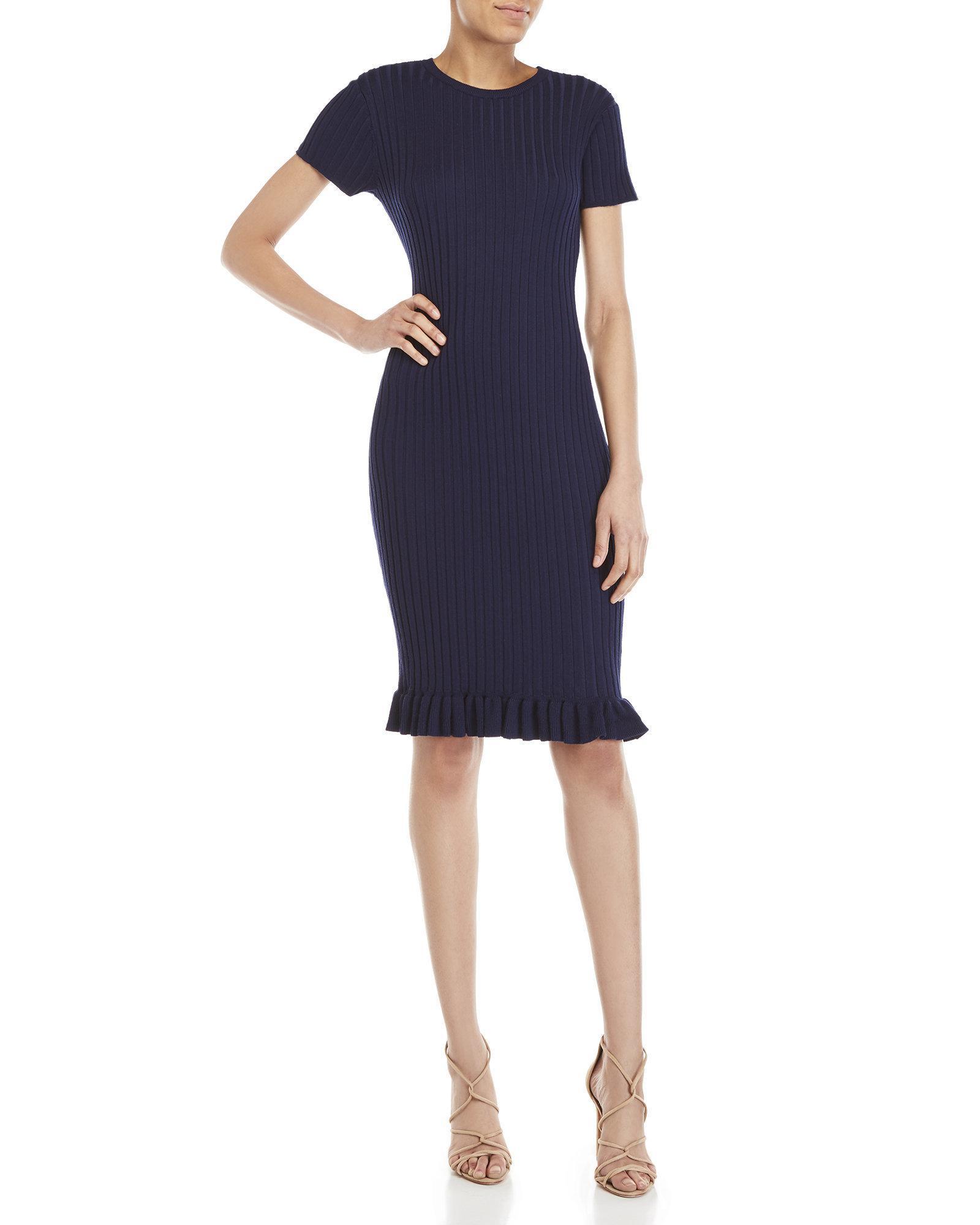 a786d1f384f Lyst - John + Jenn Judith Ribbed Ruffle Trim Dress in Blue