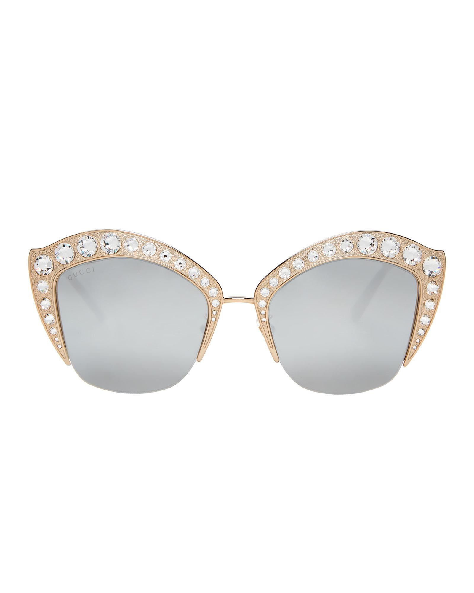 e3715db8b6976 Gucci GG 0114 s Gold-tone Cat Eye Sunglasses in Metallic - Lyst