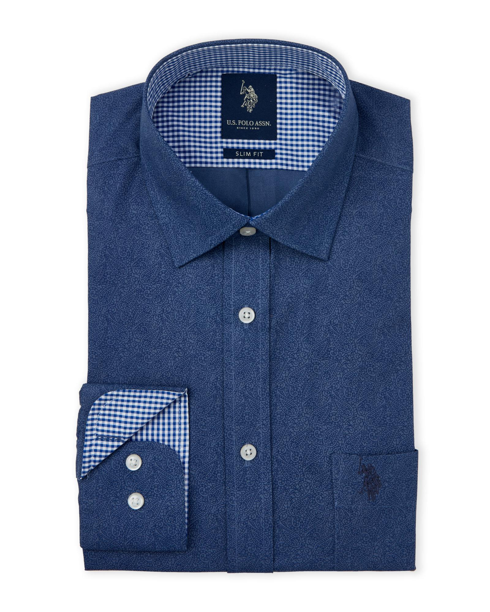 19224c687 Lyst - U.S. POLO ASSN. Paisley Slim Fit Dress Shirt in Blue for Men