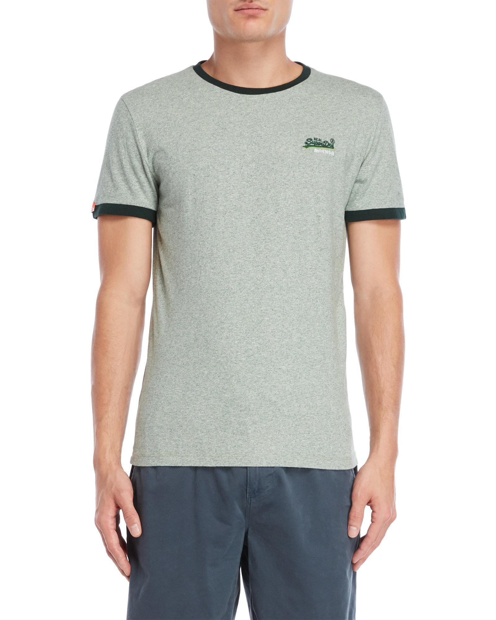 718255ce08efd2 Lyst - Superdry Embroidered Logo Ringer Tee in Green for Men