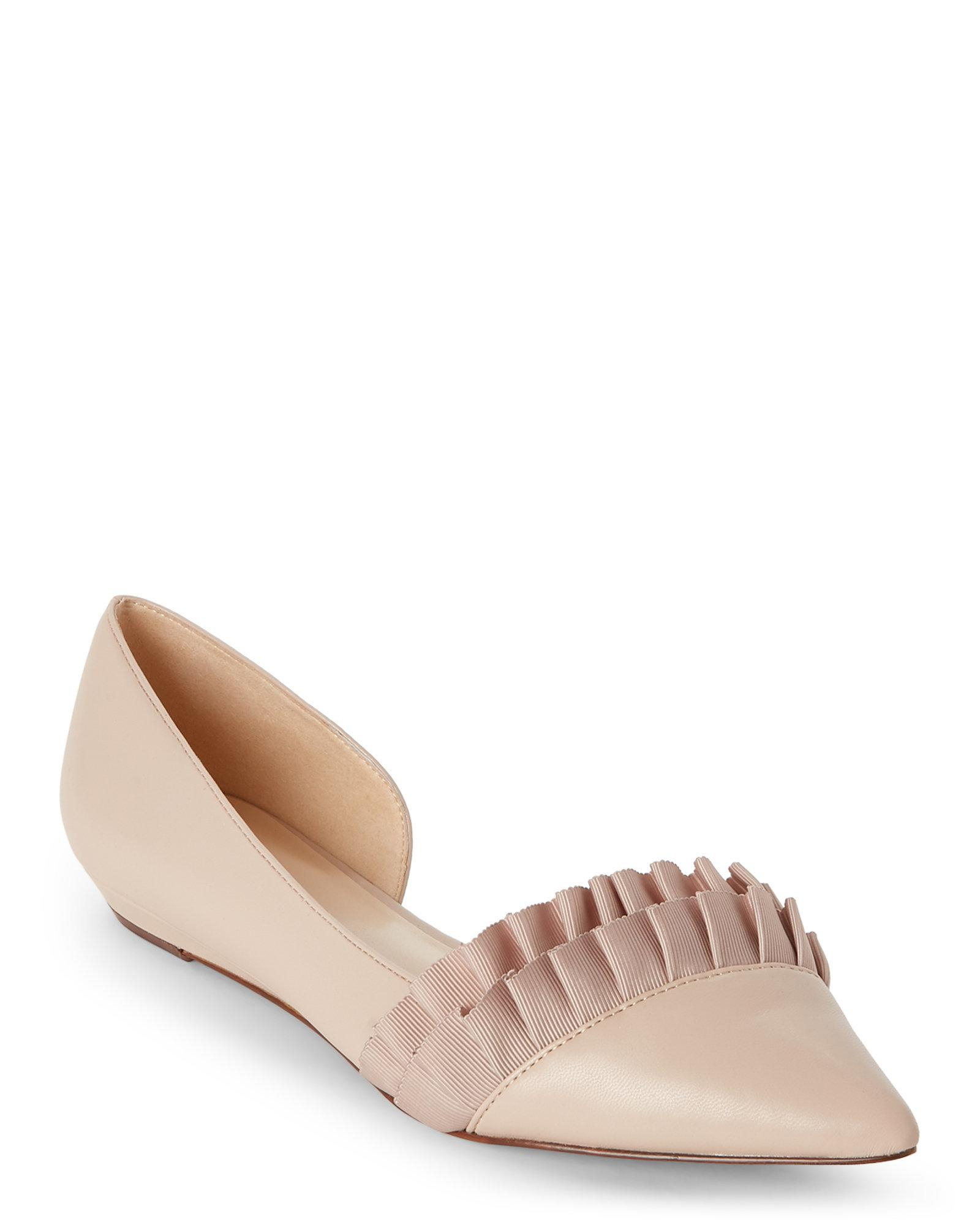 d00b55543311 Lyst - Nine West Natural Saby Ruffled Pointed Toe D Orsay Flats in ...