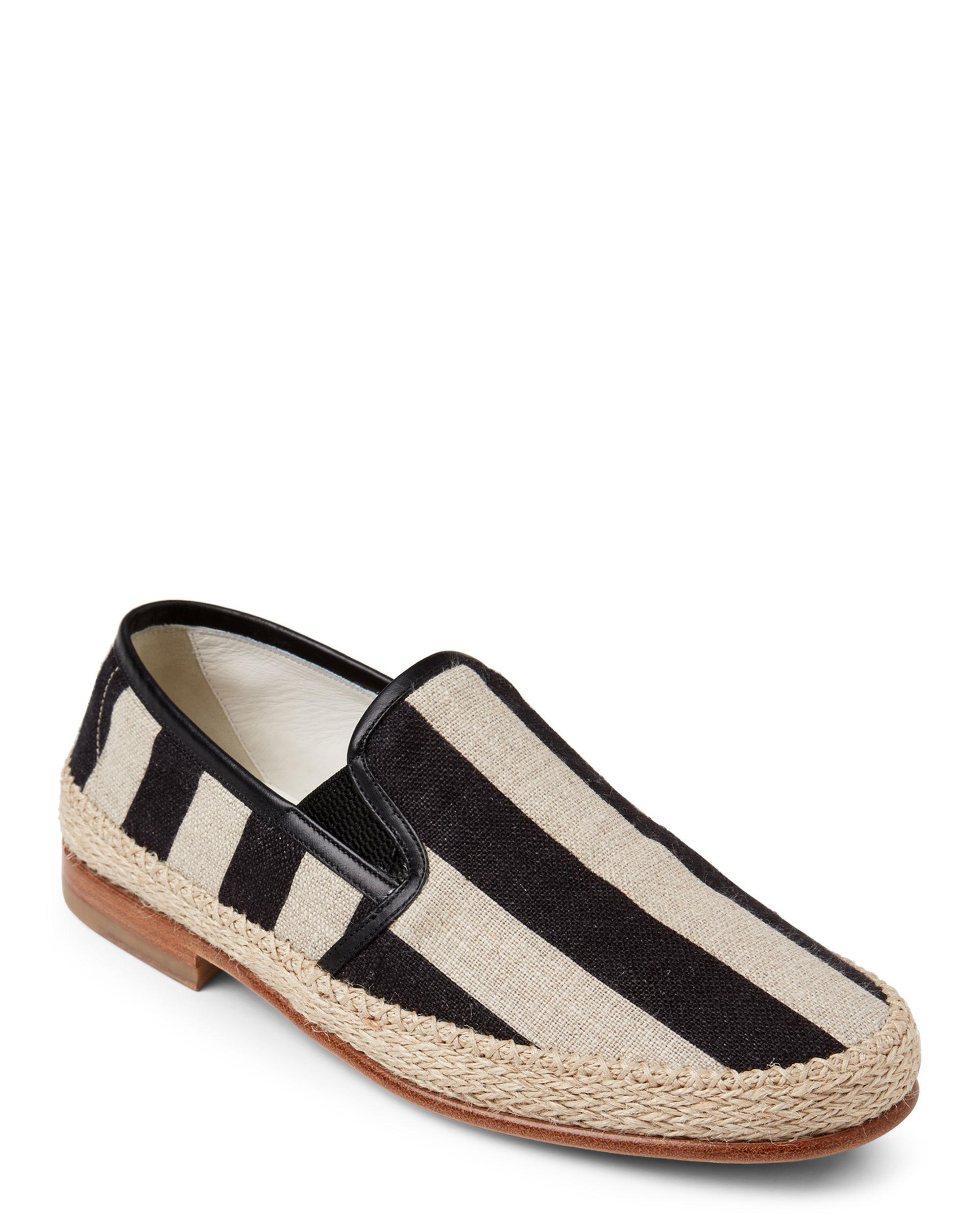 a6c2af2d3 Dolce & Gabbana. Men's Beige & Black Striped Linen Slip-on Espadrilles
