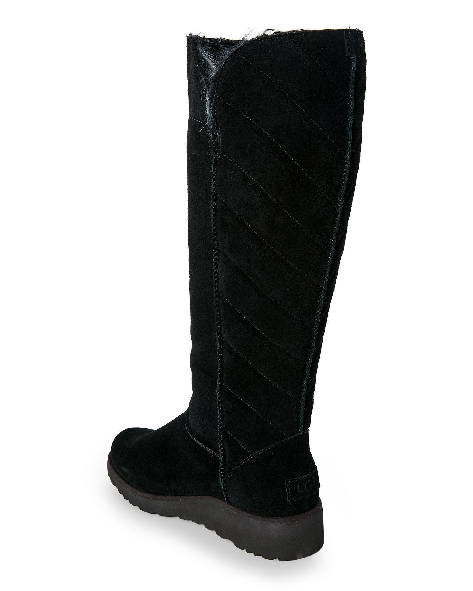 f88d3f9d7 UGG Black Rosalind Tall Sheepskin Boots in Black - Lyst