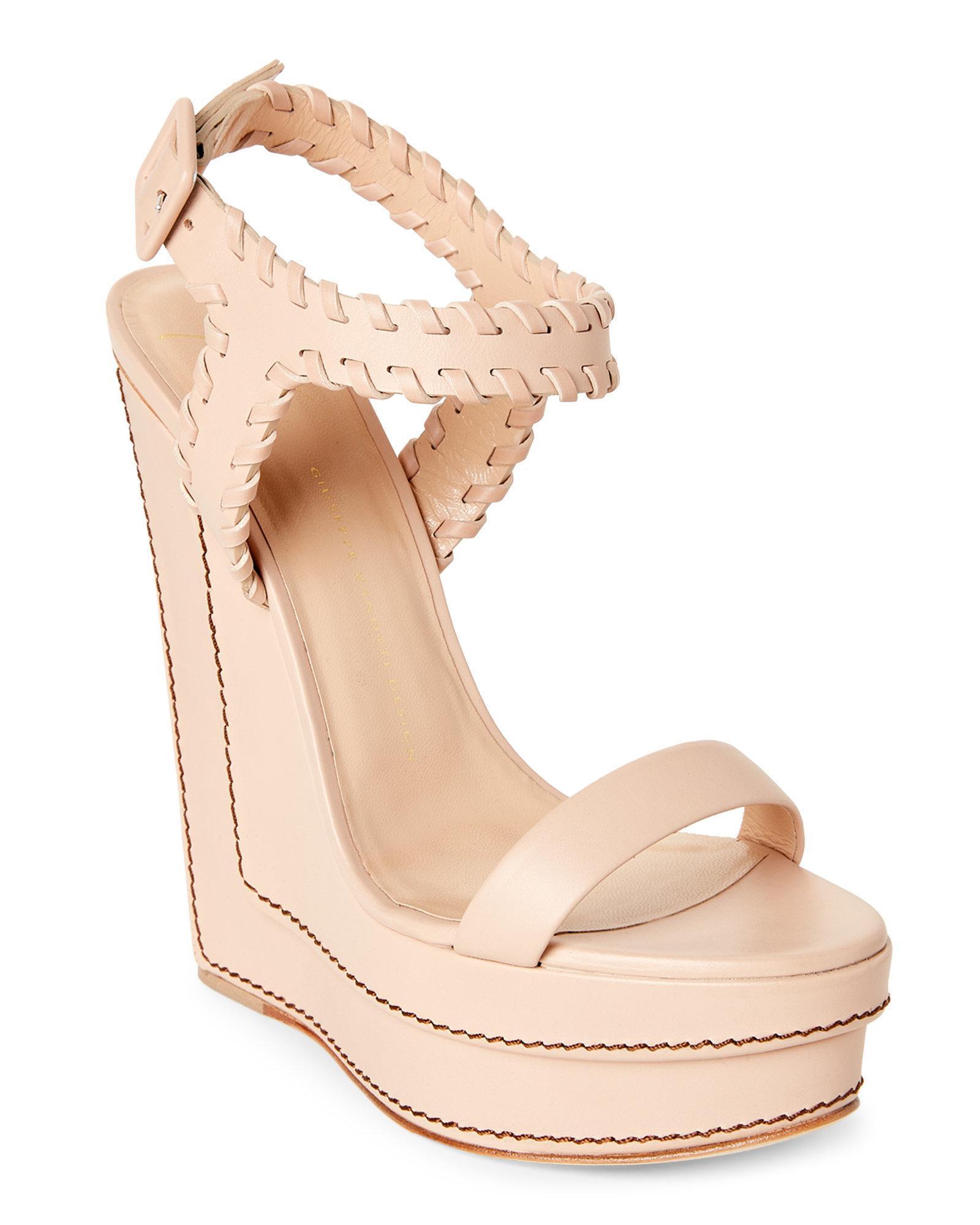 f0a534b1008c Lyst - Giuseppe Zanotti Whipstitch Leather Platform Wedge Sandals