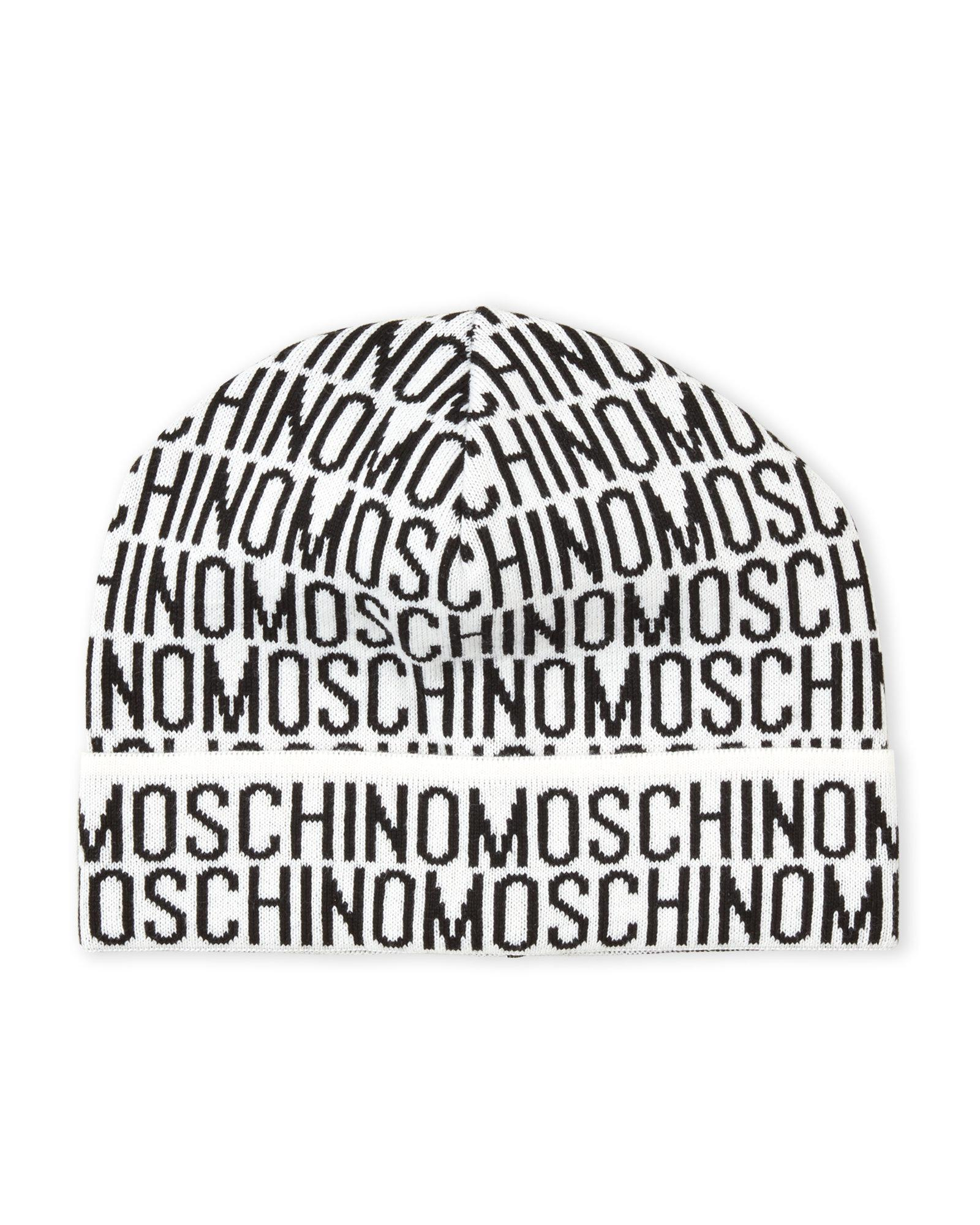 d93456e73379f Moschino Allover Logo Knit Hat in Gray for Men - Lyst