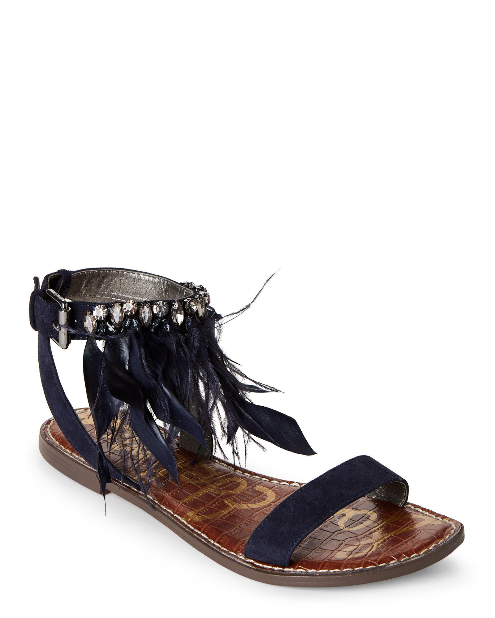 a57a15cf0 Lyst - Sam Edelman Navy Genevia Embellished Flat Sandals in Blue
