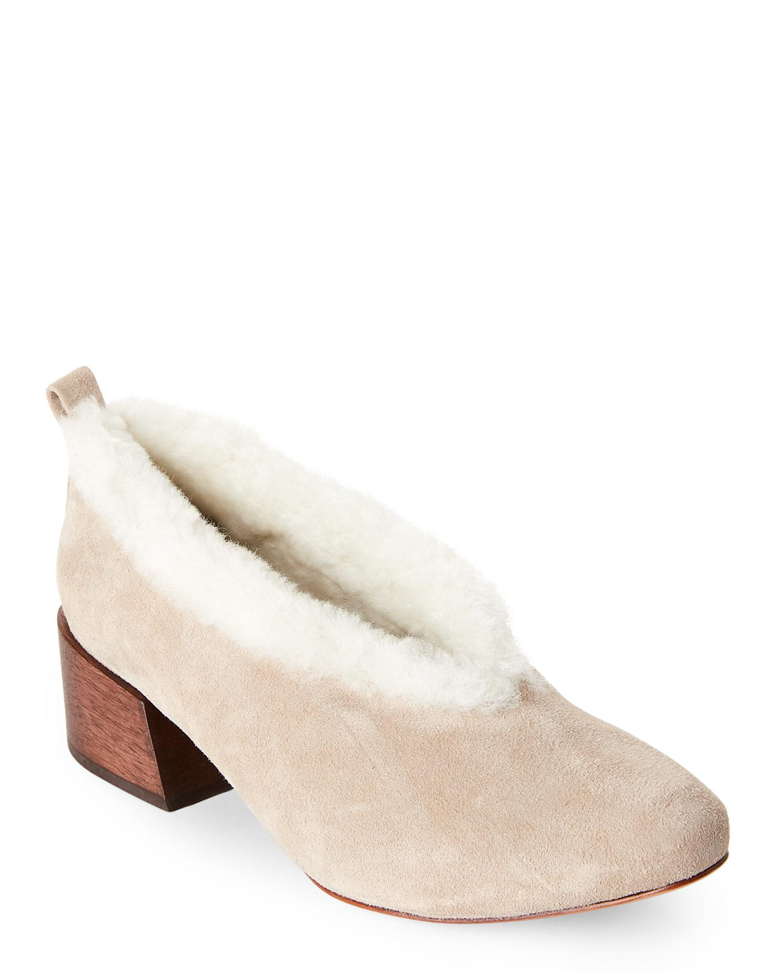 buy cheap low price fee shipping discount high quality Mari Giudicelli Suede Shearling-Trimmed Mules VM6NUr6
