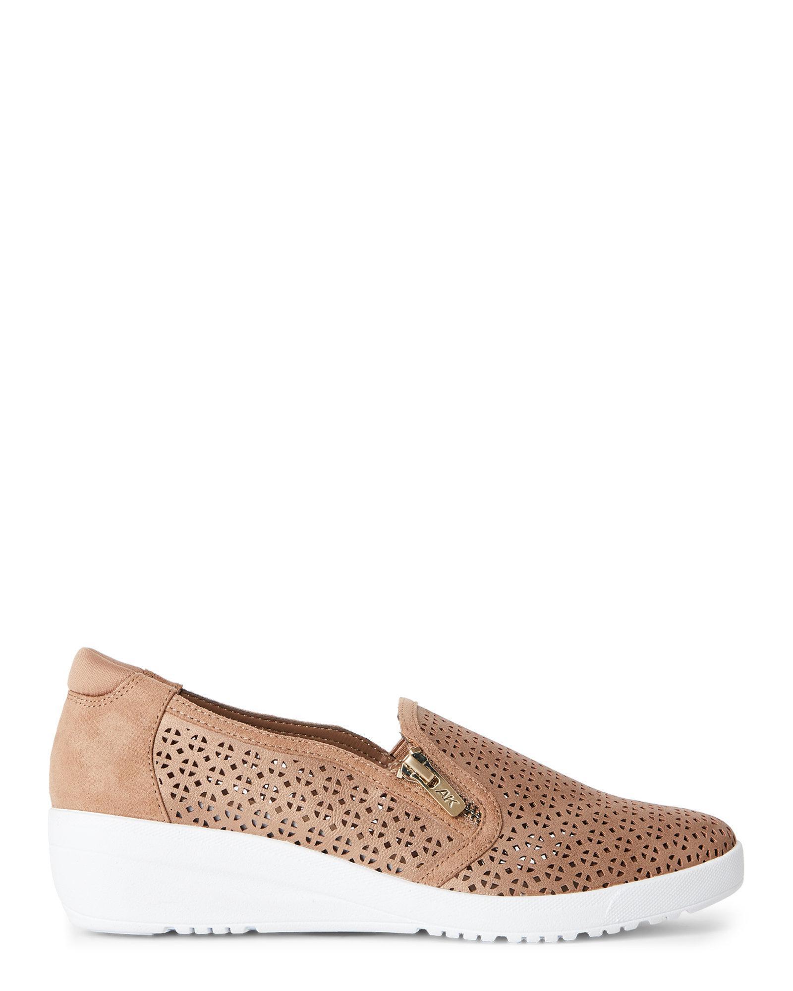 Ak Anne Klein Bronze Yepa Perforated Wedge Sneakers