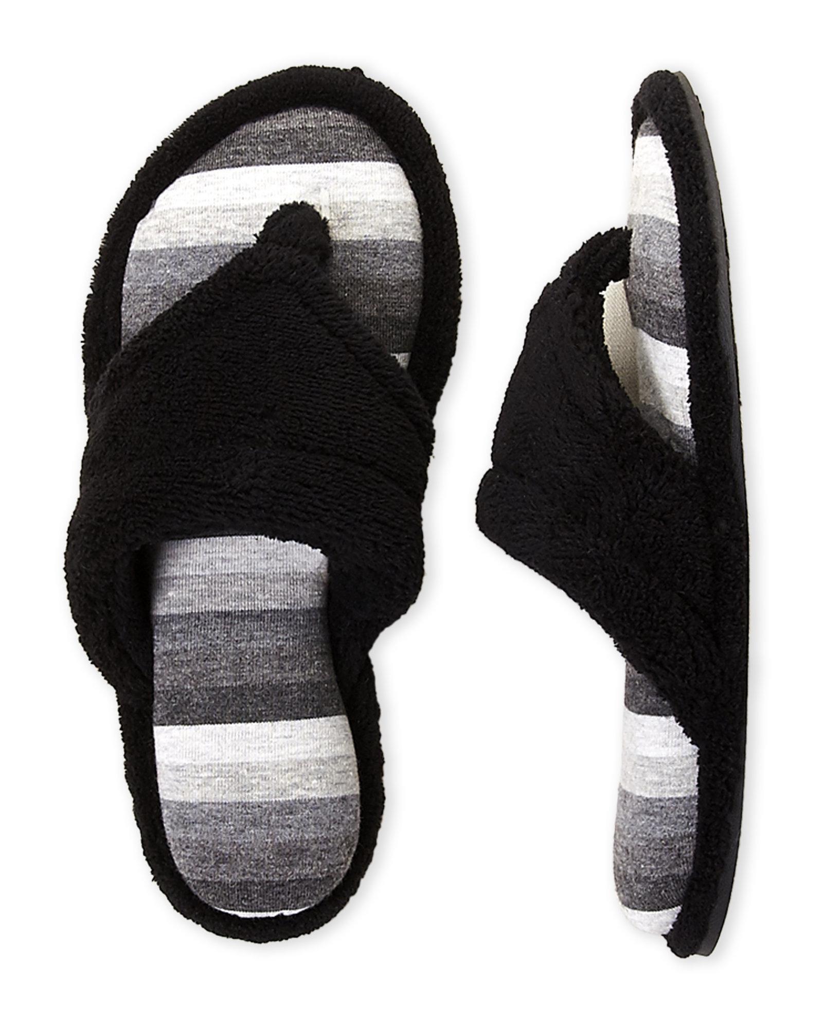 9e95a20c2f8 Lyst - Dearfoams Terry Cloth Thong Slippers in Black