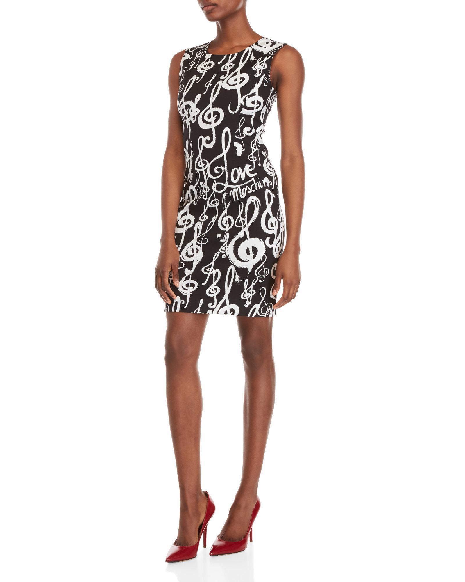 Lyst - Love Moschino Music Print Mini Sheath Dress in Black de97c9be382