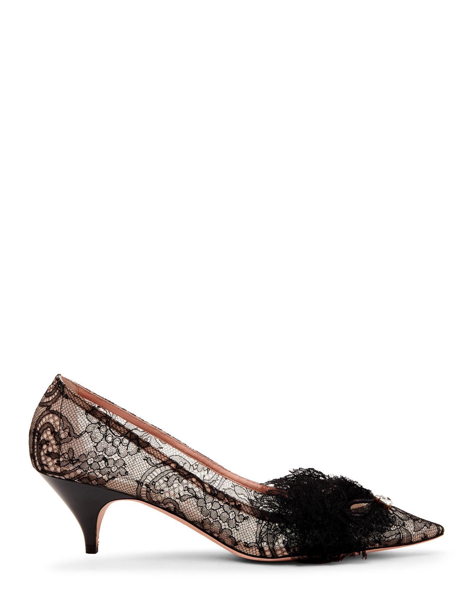 90debb76cb7 Rochas - Black Lace Pointed Toe Kitten Heel Pumps - Lyst