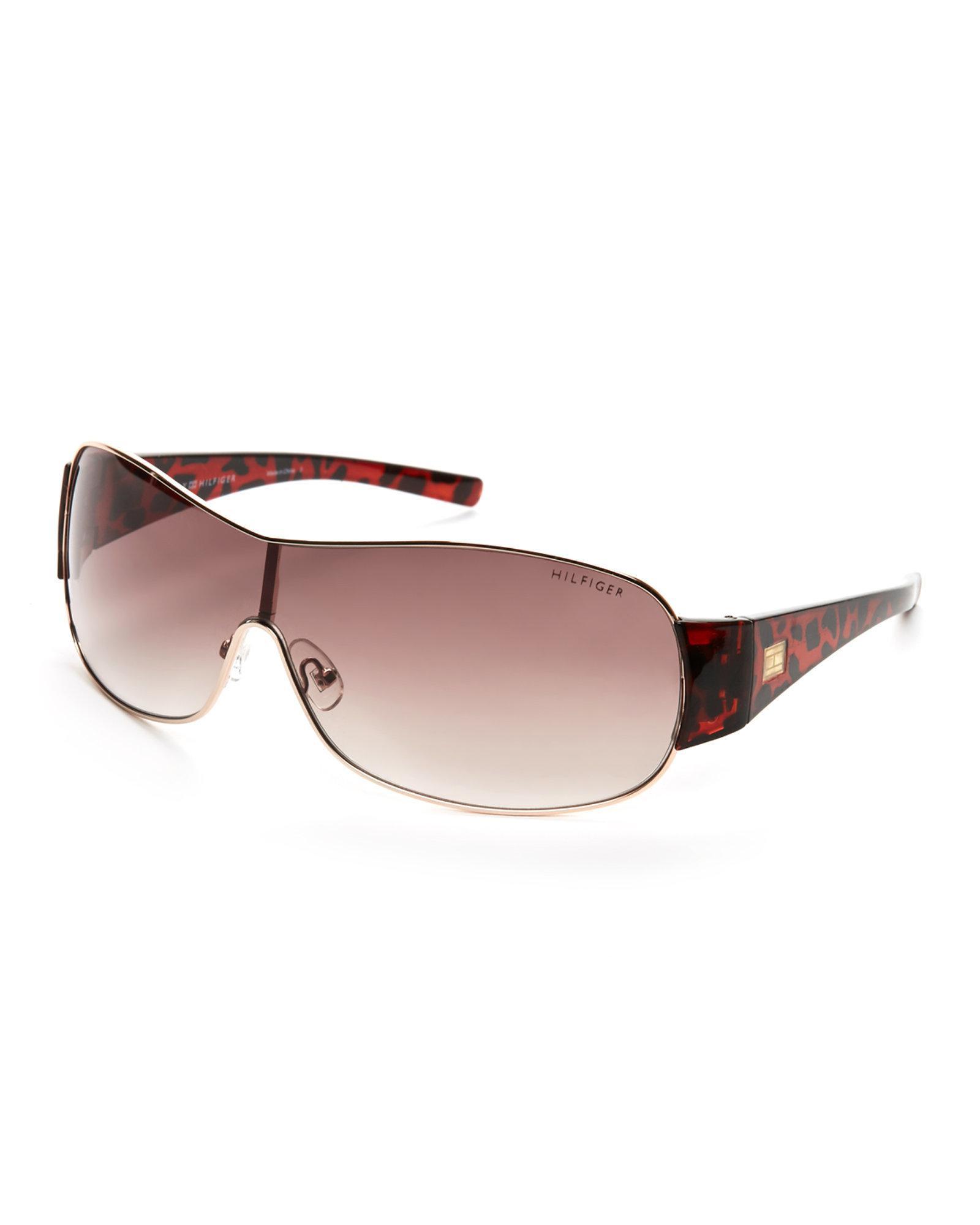 e0975b2c837 Lyst - Tommy Hilfiger Gold   Tortoiseshell-Look Donna Shield Sunglasses