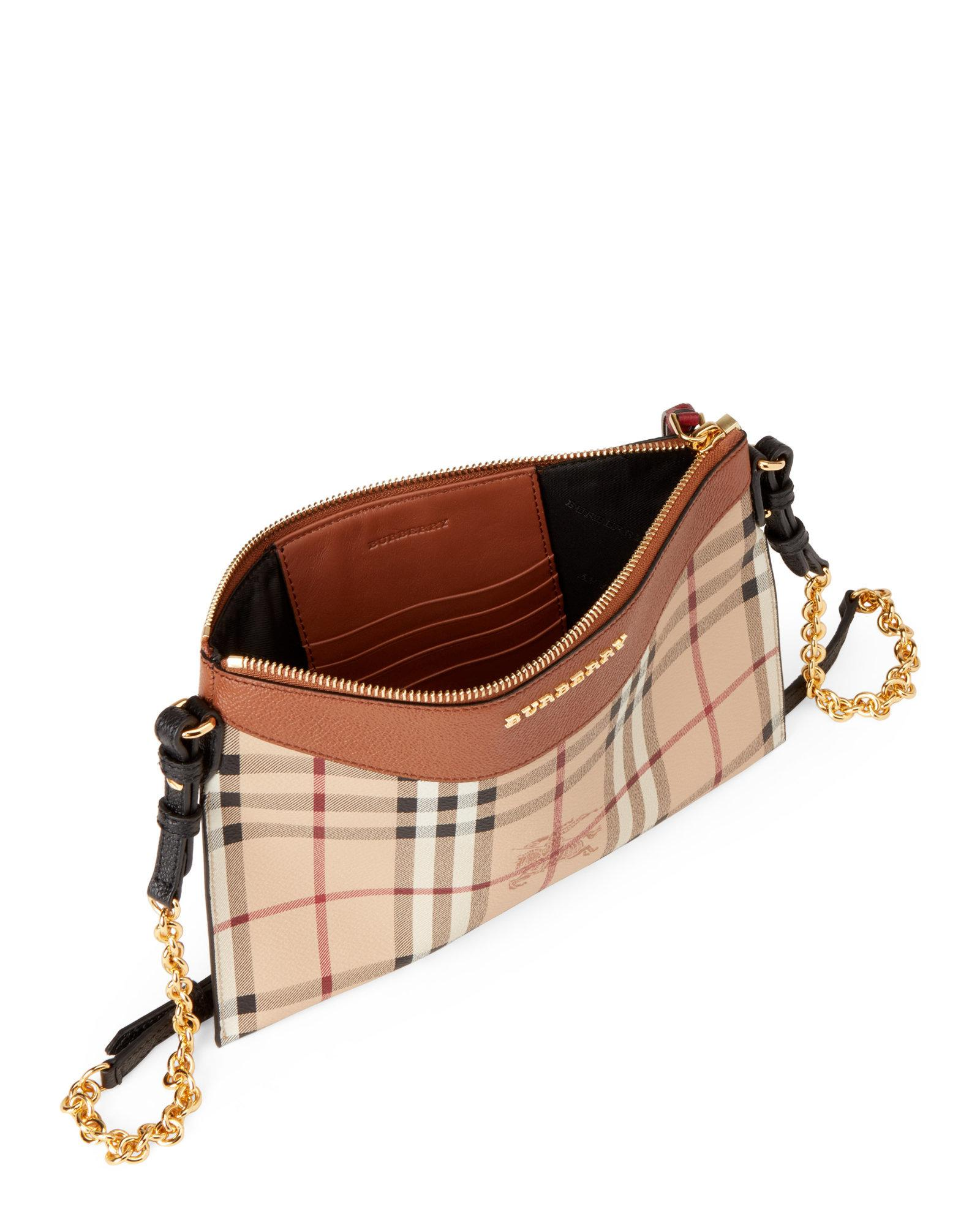 95e4d4d059ac Lyst - Burberry Peyton Haymarket Check Chain Crossbody in Brown
