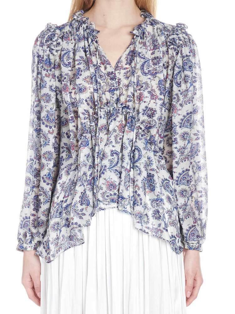 0f45b5c6405 Isabel Marant Noon Printed Blouse in Blue - Lyst