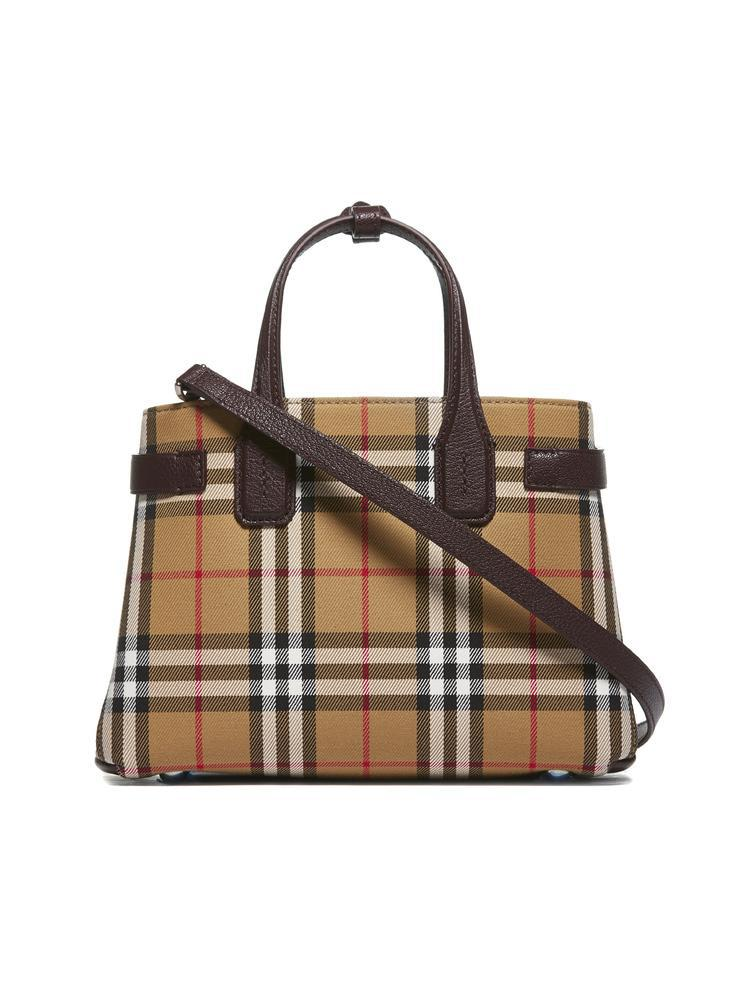 6d2073f085 Burberry Small Banner Top Handle Bag in Brown - Lyst