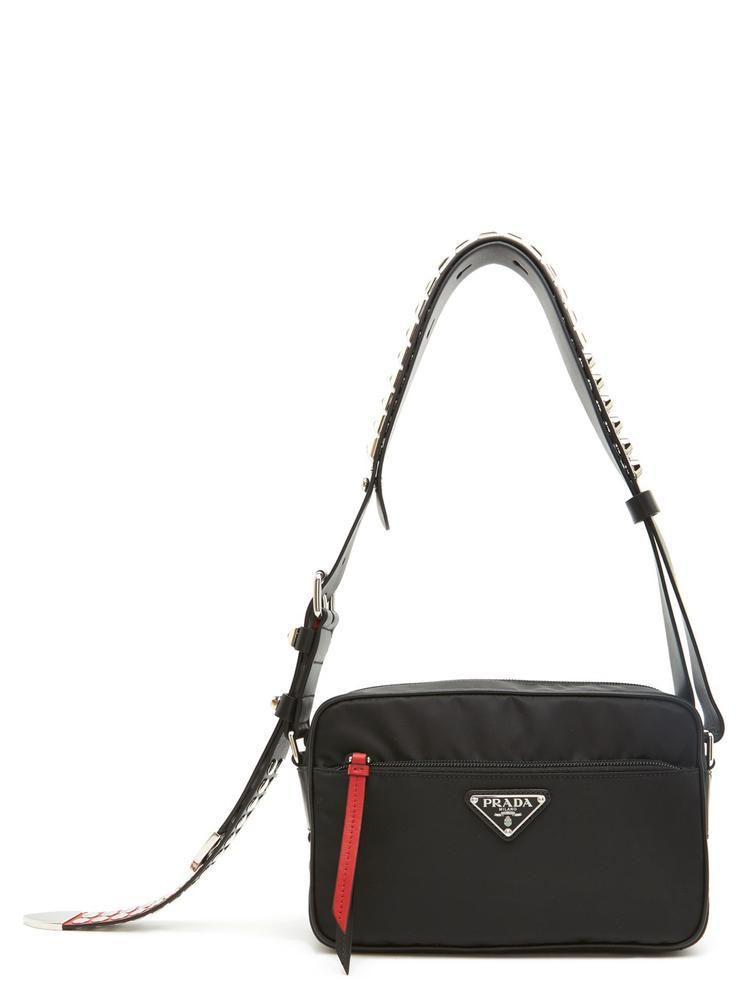 b73d54462735 Prada - Black Studded Strap Crossbody Bag - Lyst. View fullscreen