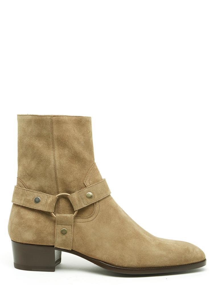 c2d729c35df Lyst - Saint Laurent Wyatt 40 Harness Suede Ankle Boots in Brown for Men