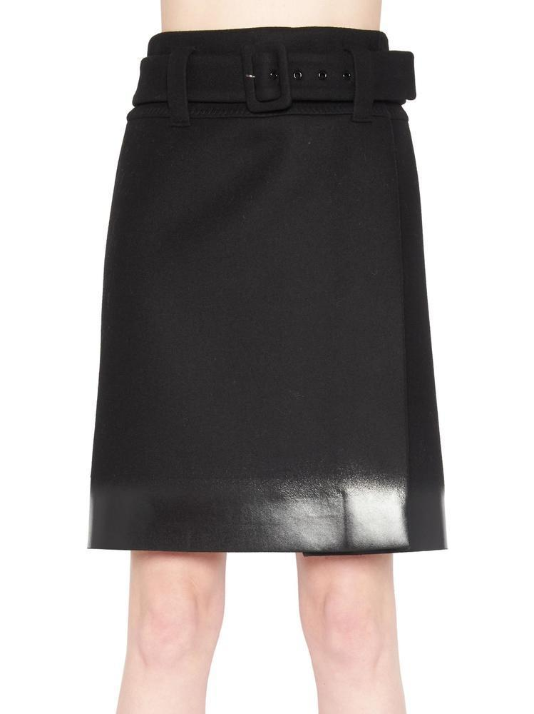 0aa5a19584 Prada Belted Wrap Skirt in Black - Lyst