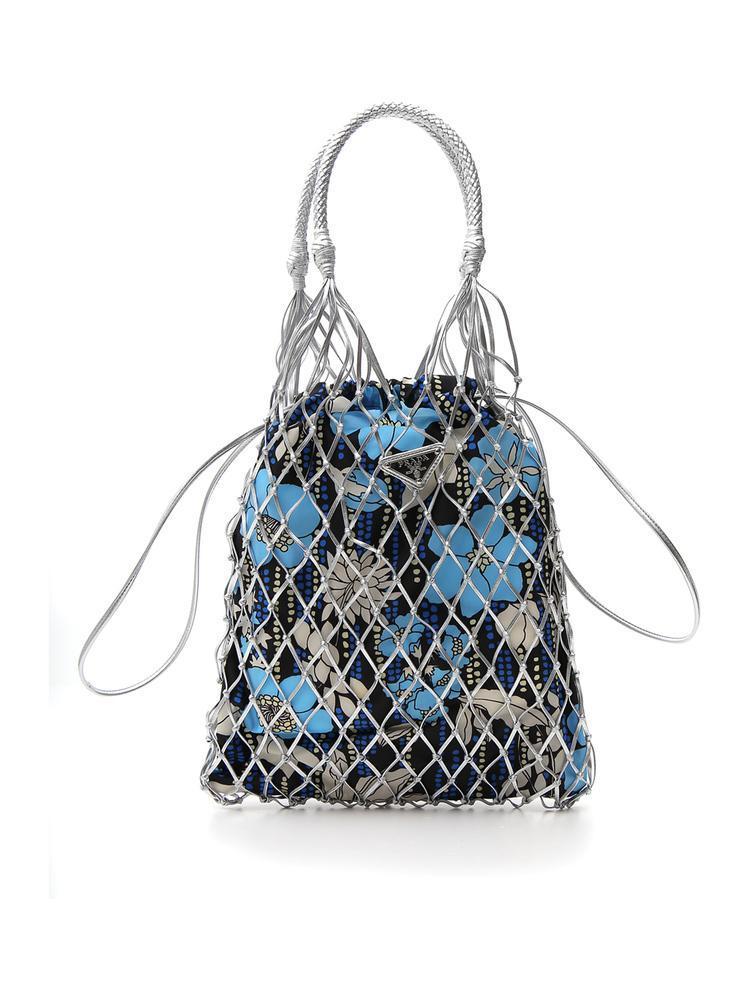 c6ca91e19e16 Lyst - Prada Floral Print Mesh Tote Bag in Blue - Save 23%