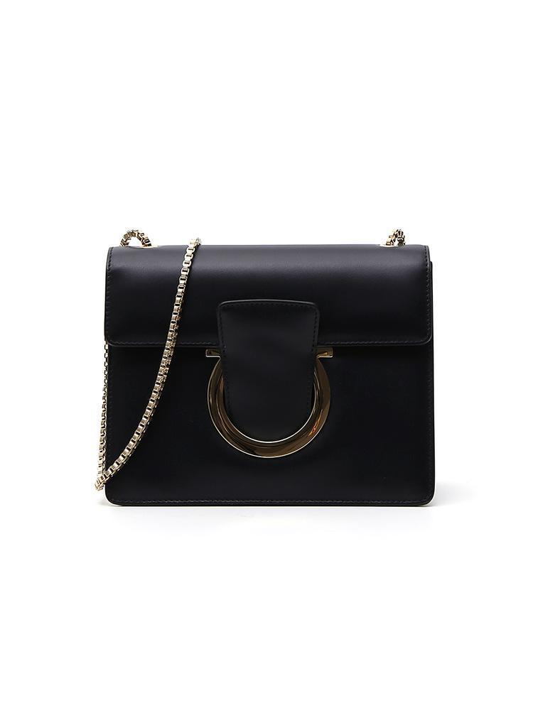 Lyst - Ferragamo Gancio Flap Crossbody Bag in Black deb372d1f1f87