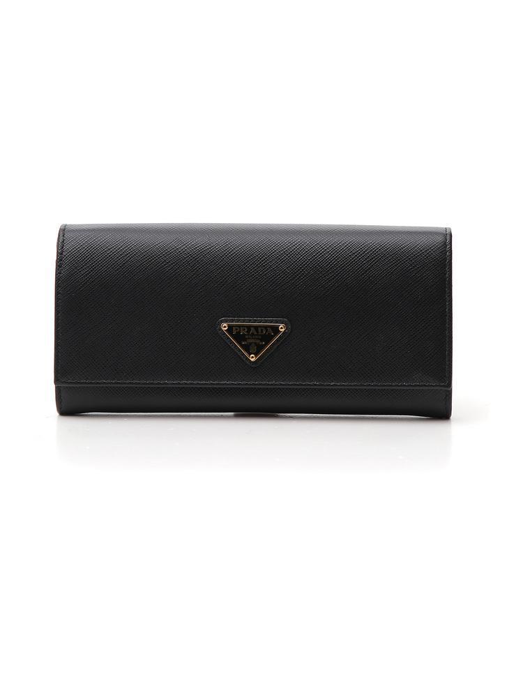 60e1b90af40a38 Lyst - Prada Logo Plaque Fold Continental Wallet in Black