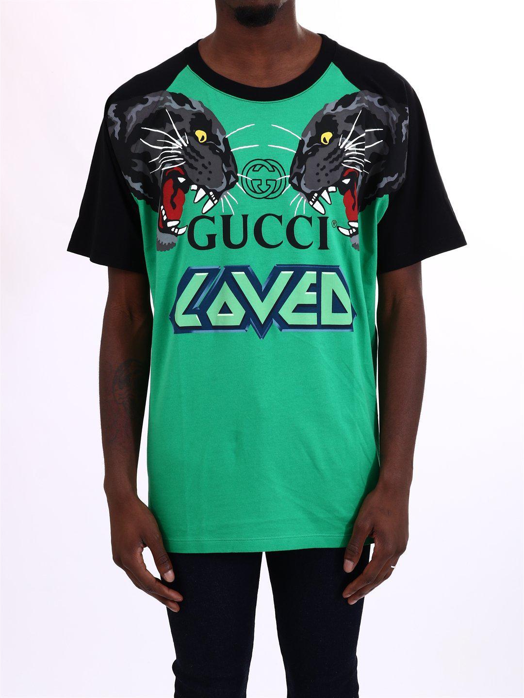 e2d3fda1 Gucci Over Tiger Head Print Cotton T-shirt in Green for Men - Save ...