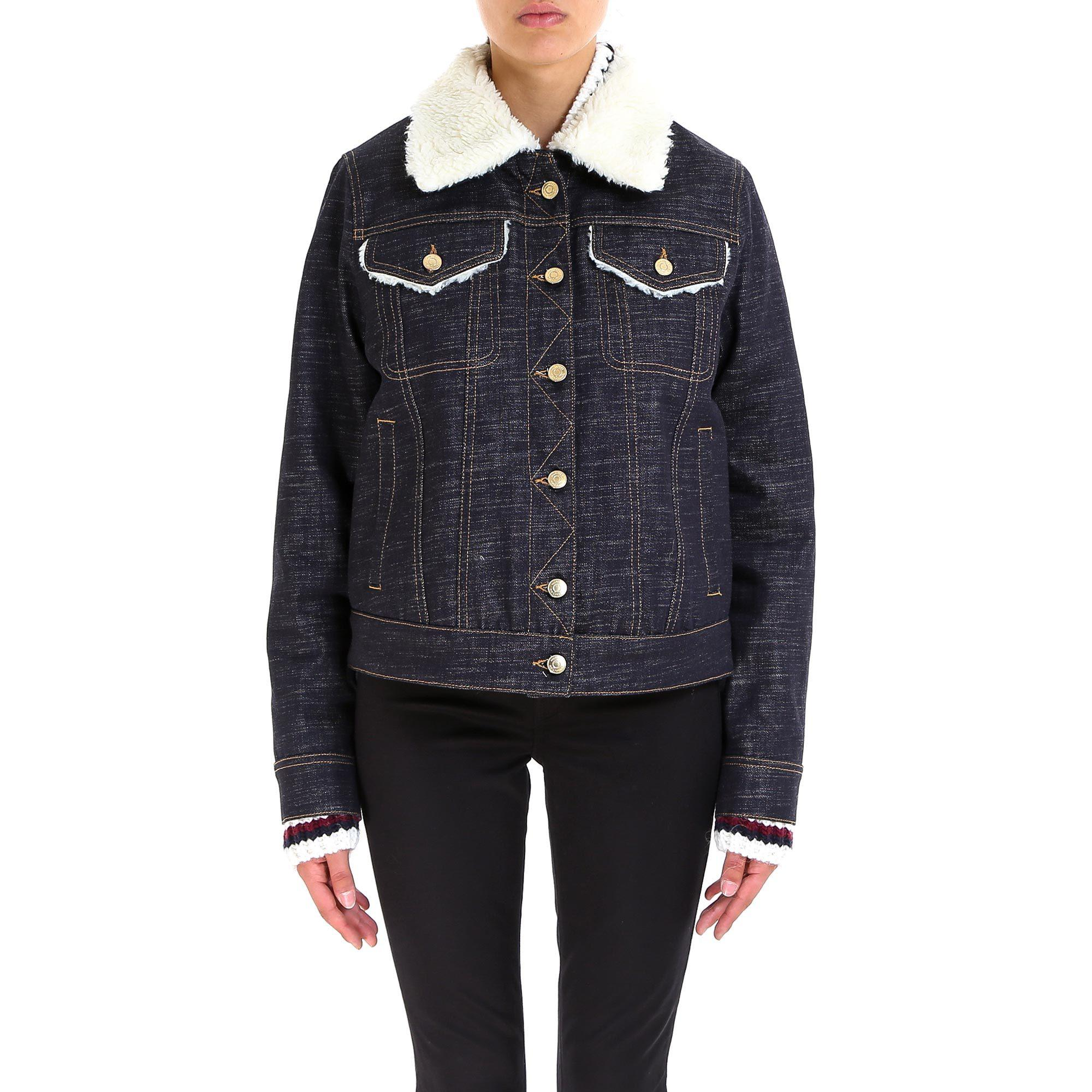 ab1171be Tommy Hilfiger Faux Fur Denim Jacket in Blue - Lyst