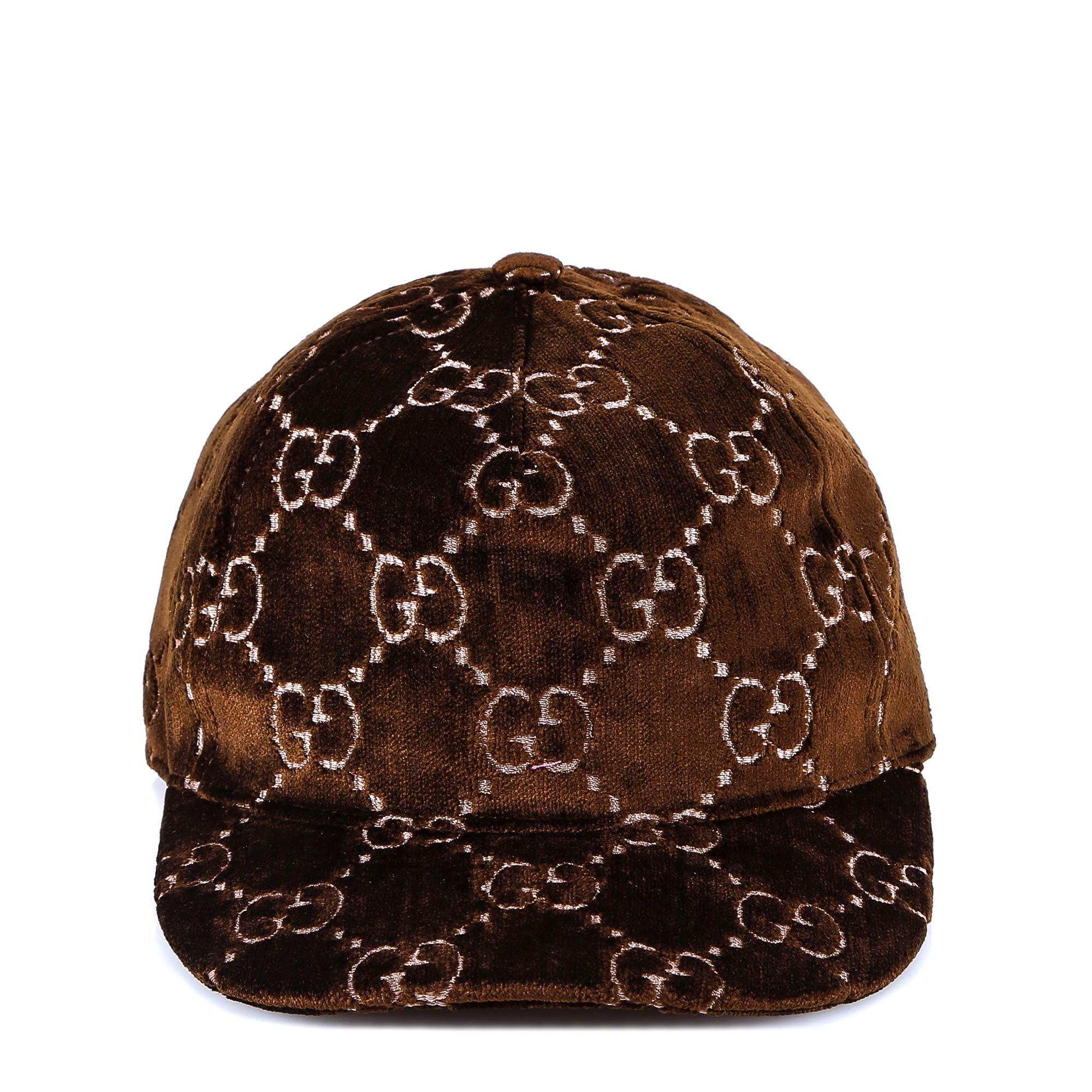 ec65eeae8fd Lyst - Gucci Gg Embroidered Velvet Cap in Brown - Save 42%