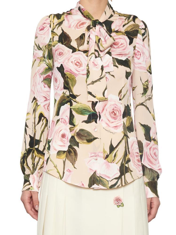 3a85746c4 Dolce & Gabbana Rose Bow Tie Neckline Blouse - Lyst