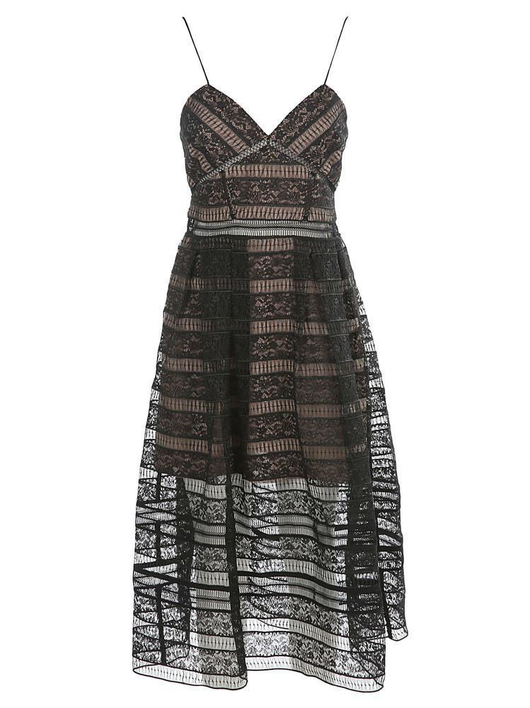 3cf6f3ce27f7 Self-Portrait Lace Midi Dress in Black - Lyst