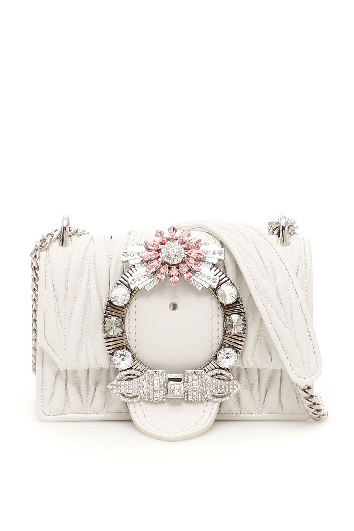 Lyst - Miu Miu Miu Lady Embellished Buckle Shoulder Bag in White 8eb5ce5070