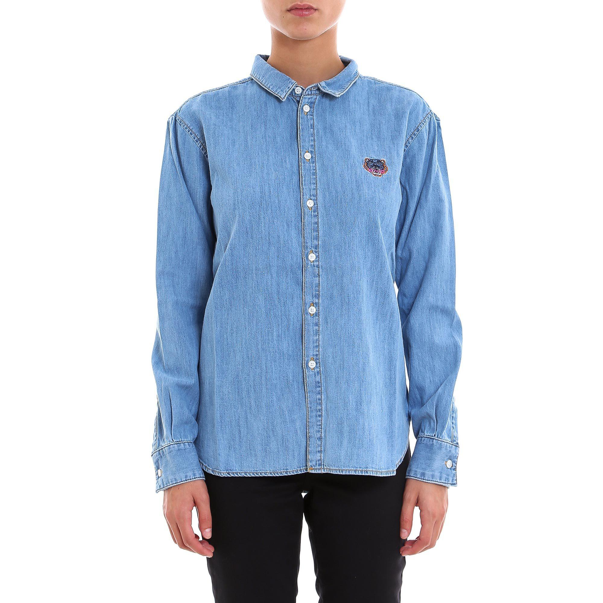 cd15b4be93 Lyst - KENZO Tiger Embroidered Denim Shirt in Blue