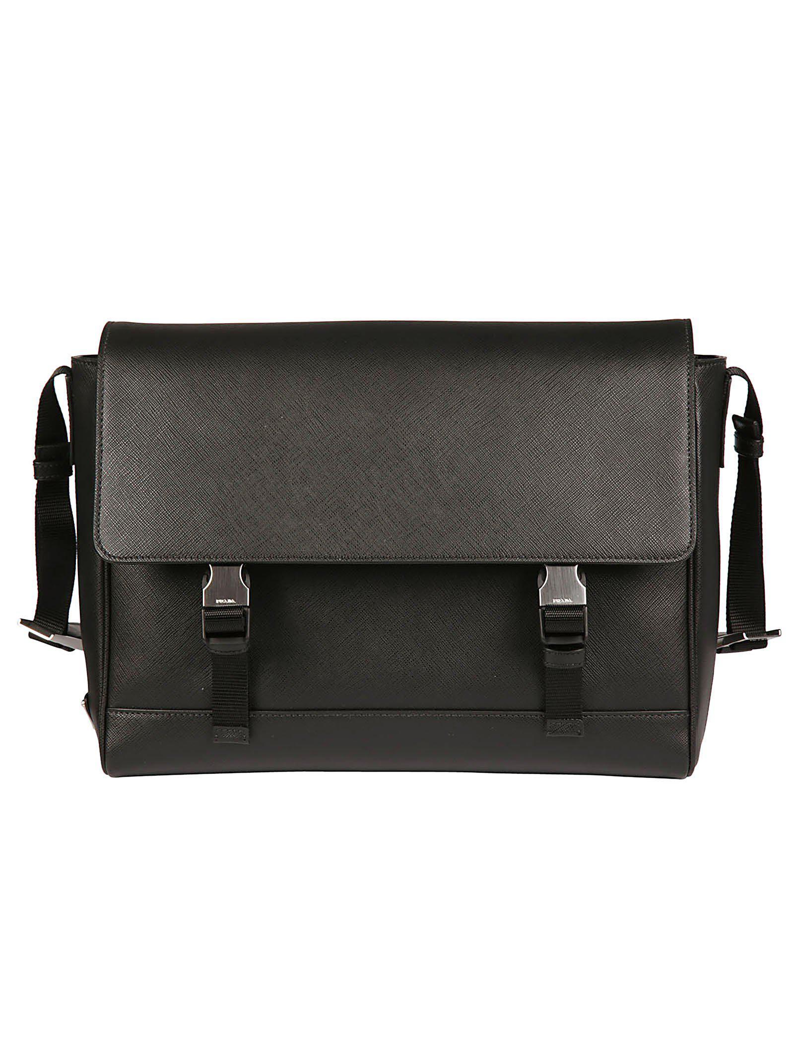 3056156d300801 Prada Logo Double Clipped Shoulder Bag in Black for Men - Lyst