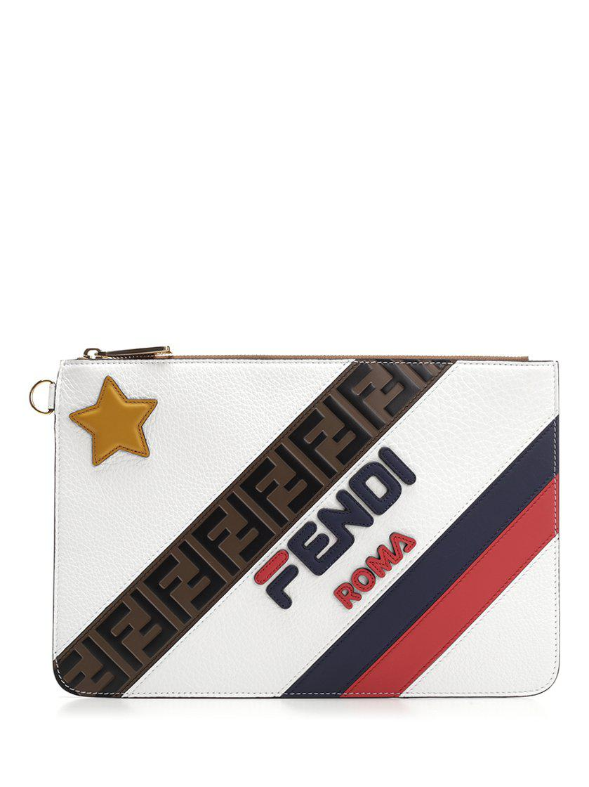 2e5474c6e0 Lyst - Fendi Fila Clutch Bag in White for Men - Save 29.727272727272734%